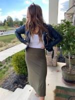 Olive Maxi Skirt With Foldover Waistband - 5