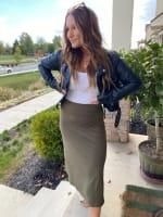 Olive Maxi Skirt With Foldover Waistband - 1