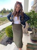 Olive Maxi Skirt With Foldover Waistband - 4