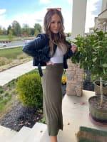 Olive Maxi Skirt With Foldover Waistband - 6
