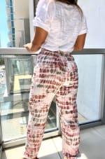 Pink Tie Dye Woven Jogger Pants - 7