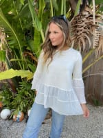 White Mixed Fabric Tiered Top - 3