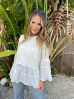 White Mixed Fabric Tiered Top - 4