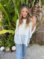 White Mixed Fabric Tiered Top - 6