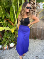 Royal Blue Maxi Skirt With Foldover Waistband - 2