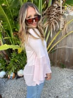 Blush Mixed Fabric Tiered Top - Plus - 4