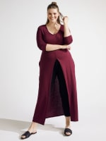 Front Slit Long Sleeve Shirt With Pockets - Plus - 1