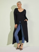 Front Slit Long Sleeve Shirt With Pockets - Plus - 11