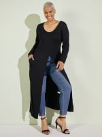 Front Slit Long Sleeve Shirt With Pockets - Plus - 12