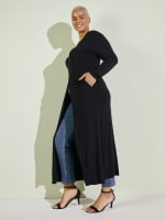 Front Slit Long Sleeve Shirt With Pockets - Plus - 15