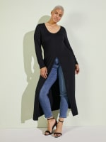 Front Slit Long Sleeve Shirt With Pockets - Plus - 17