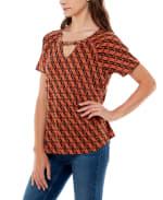 Adrienne Vittadini Short Sleeve Raglan With Keyhole Top - 3