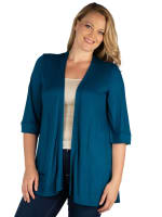 24Seven Comfort Apparel Elbow Length Sleeve Open Front Plus Size Cardigan - 21