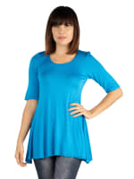 24Seven Comfort Apparel Elbow Sleeve Swing Tunic Top For Women - 19