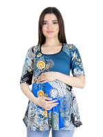 24Seven Comfort Apparel Blue Paisley Elbow Sleeve Flared Maternity Tunic Top - 1