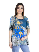 24Seven Comfort Apparel Blue Paisley Elbow Sleeve Flared Maternity Tunic Top - 2