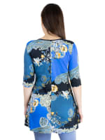 24Seven Comfort Apparel Blue Paisley Elbow Sleeve Flared Maternity Tunic Top - 3