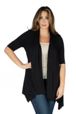 24Seven Comfort Apparel Elbow Length Sleeve Open Front Plus Size Cardigan - 1