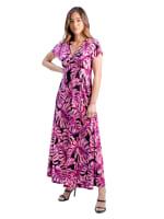 24Seven Comfort Apparel Pink Cap Sleeve Empire Waist Maxi Dress - 2