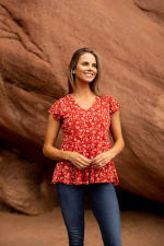 Roz & Ali Floral Tiered Knit Top - 2