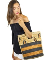 Straw Beach Tote Straw Leopard Cut Out Tote - 2