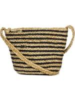 Straw Beach Bag Straw Crossbody Bas with Striping - 4