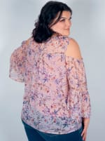 Westport Neutral Floral Cold Shoulder Blouse - Plus - 2