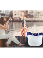 The Hamptons Straw Colorblock Logo Beach Tote - 2