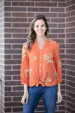 """Embroidered """"To Tie Or Not To Tie"""" Button Front Shirt - 3"""