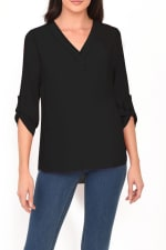 DR2 Casual Long Sleeve V Neck Top - 1