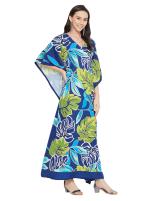 Blue & Green Maxi Kaftan Dress - Plus - 4