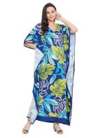 Blue & Green Maxi Kaftan Dress - Plus - 1