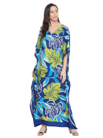 Blue & Green Maxi Kaftan Dress - Plus - 3