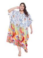 Wide Sleeves Multicolour Polyester Kaftan Dress - Plus - 4
