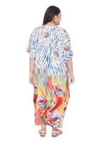Wide Sleeves Multicolour Polyester Kaftan Dress - Plus - 2