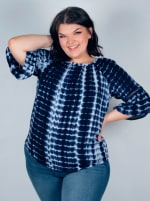 """Westport Tie Dye """"On And Off The Shoulder"""" Blouse - Plus - 4"""