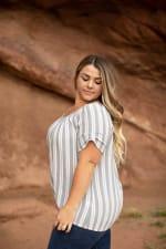 Roz & Ali Neutral Stripe Bubble Hem Blouse - Plus - 3