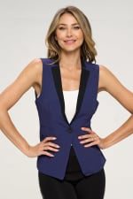 KAII Women Color Blocked Crepe Fashion Vest - 6