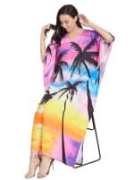 Wide Sleeves Polyester Kaftan Dress - Plus - 4