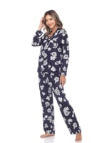 Long Sleeve Floral Pajama Set - 11