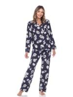 Long Sleeve Floral Pajama Set - 7