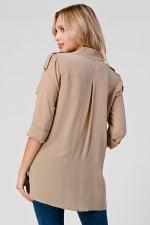 KAII High Low Silk Trench Shirt - 2