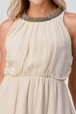KAII Shiny Stone Neck Trim High Low Dress - 4