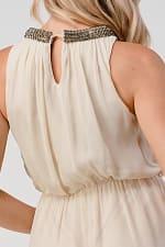 KAII Shiny Stone Neck Trim High Low Dress - 5