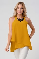 KAII Front Racer Double Layer With Jeweled Neck Top - 1