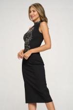 KAII Embellished Beaded Front High Neck Mid Length Dress - 4