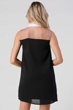 KAII See Through Yoke Contrast Collar Tunic Dress - 2