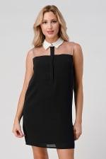 KAII See Through Yoke Contrast Collar Tunic Dress - 1
