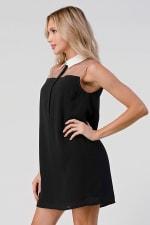 KAII See Through Yoke Contrast Collar Tunic Dress - 4