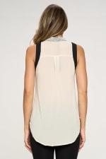 KAII Pearl On Collar Sleeveless Shirt - 2
